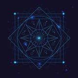 Il simbolo della geometria dell'alchemia assottiglia la linea Vettore illustrazione di stock