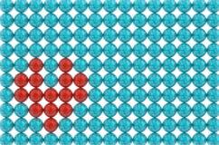 Il simbolo delle perle blu rosse del cuore modella l'illustrazione 3D royalty illustrazione gratis