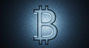 Il simbolo di Bitcoin sul blu gira intorno al fondo Immagini Stock Libere da Diritti