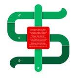 Il simbolo di dollaro di vettore come la cronologia infographic mostra il punto astratto Fotografie Stock