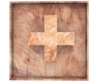 Il simbolo di legno decorativo dell'alfabeto più la somma canta la lettera del segno in scatola di legno illustrazione della rapp illustrazione di stock