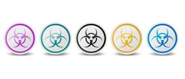Il simbolo di rischio biologico abbottona - colori differenti - le icone di vettore isolate su fondo bianco royalty illustrazione gratis