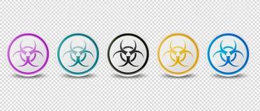Il simbolo di rischio biologico abbottona - colori differenti - le icone di vettore isolate su fondo trasparente royalty illustrazione gratis
