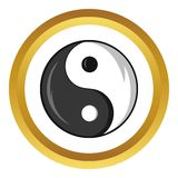 Il simbolo di yang e di Yin vector l'icona, stile del fumetto Fotografia Stock Libera da Diritti
