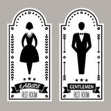 Il simbolo premio maschio e femminile della toilette firma la raccolta di vettore fotografie stock libere da diritti