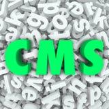 Il sistema 3d di content management del CMS segna l'acronimo con lettere di parola Fotografie Stock