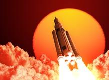 Il sistema del lancio dello spazio decolla sui precedenti dell'alba Fotografia Stock Libera da Diritti