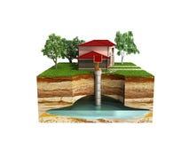 il sistema del pozzo d'acqua l'immagine descrive uno strato acquifero sotterraneo 3d con riferimento a illustrazione di stock
