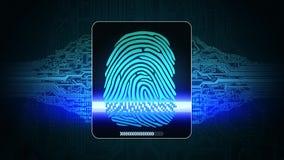 Il sistema dell'esame dell'impronta digitale - i dispositivi di sicurezza biometrici, risultato dell'accesso di ricerca dell'impr illustrazione di stock