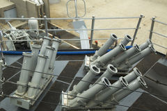 Il sistema di controllo del Seagnat sulla piattaforma del distruttore USS McFaul del missile teleguidato della marina statunitens Fotografie Stock