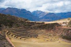 Il sito archeologico a Moray, destinazione di viaggio nella regione di Cusco e la valle sacra, Perù Terrazzi concentrici maestosi Fotografia Stock