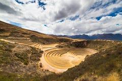 Il sito archeologico a Moray, destinazione di viaggio nella regione di Cusco e la valle sacra, Perù Terrazzi concentrici maestosi Fotografie Stock