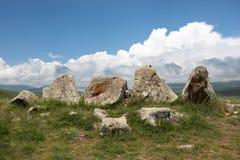 Il sito di Stonehenge dell'armeno ha chiamato Karahunj fotografia stock libera da diritti