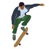 Il skateboarder che salta, illustrazione di vettore Immagine Stock Libera da Diritti