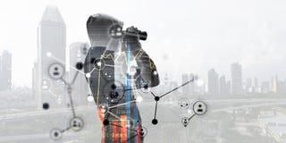 Il sociale cattura con la rete il pirata informatico Media misti Fotografia Stock