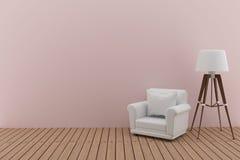 Il sofà bianco con la lampada nell'interior design rosa della stanza in 3D rende l'immagine Fotografia Stock Libera da Diritti
