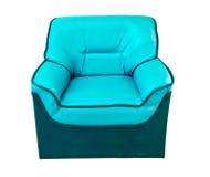 Il sofà di cuoio blu isolato su bianco Fotografie Stock Libere da Diritti
