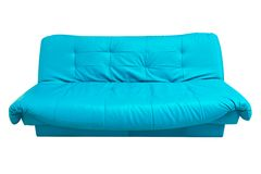 Il sofà di cuoio blu isolato su bianco Fotografia Stock Libera da Diritti