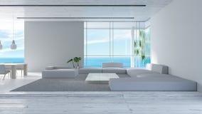 Il sofà di legno del pavimento del salone interno moderno ha messo la rappresentazione dell'estate 3d di vista del mare interior  royalty illustrazione gratis