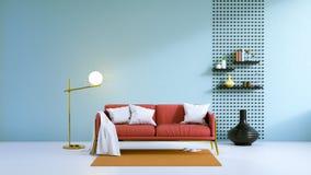 Il sofà interno e nero del salone moderno del sottotetto con la vecchia parete di legno ed il calcestruzzo che pavimenta /3d rend royalty illustrazione gratis