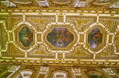 Il soffitto di oratoria della Co-cattedrale di St John, La Valletta, Malta immagine stock