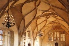 Il soffitto di Vladislav Hall a vecchio Royal Palace a Praga Fotografia Stock Libera da Diritti