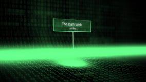 Il software del paesaggio di Digital ha definito la tipografia con il codice binario futuristico - il web scuro royalty illustrazione gratis