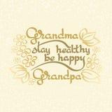 Il soggiorno del nonno della nonna sano, è felice Cartolina d'auguri di vettore Immagine Stock