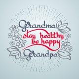 Il soggiorno del nonno della nonna sano, è felice Cartolina d'auguri di vettore Fotografia Stock Libera da Diritti