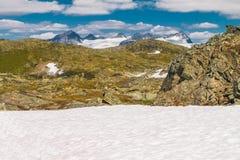 Il Sognefjellsvegen, il più alta strada del passo di montagna in Europa settentrionale, Norvegia Immagini Stock Libere da Diritti