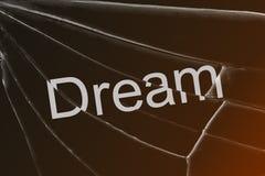 Il sogno del testo sul vetro rotto Il concetto della perdita di sogni, speranza, fede fotografia stock libera da diritti