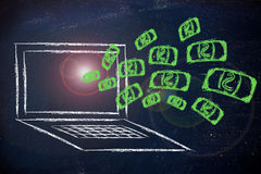 Il sogno di affari di Internet: soldi che esplodono dall'SCR del computer Fotografia Stock Libera da Diritti