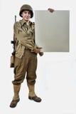 Il soldato americano mostra un segno fotografie stock