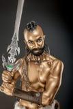 Il soldato potente dell'oro con la spada 5 Fotografia Stock