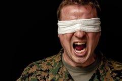 Il soldato soffre da PTSD Fotografia Stock