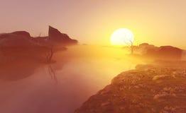 Il sole è messo Immagini Stock