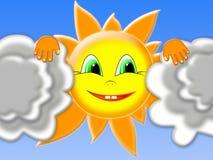 Il sole che dà una occhiata fuori da dietro le nubi Immagine Stock