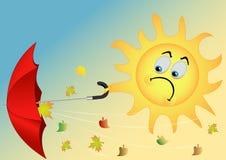 Il sole con un ombrello Immagine Stock Libera da Diritti