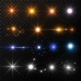 Il sole del chiarore della lente di lustro delle stelle e della luce irradia le scintille d'ardore icone del neon e dell'oro isol Immagine Stock Libera da Diritti