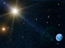 Il sole del cielo stars la luna fotografie stock libere da diritti