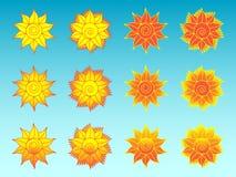 Il sole del fiore ha stilizzato le icone etniche messe Immagini Stock Libere da Diritti