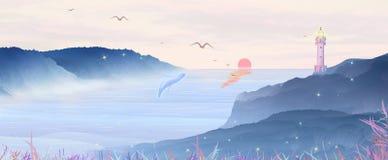 Il sole di mattina aumenta dal mare Il faro sulla montagna splende sulla nave distante, la balena sta agitando lo spruzzo illustrazione di stock