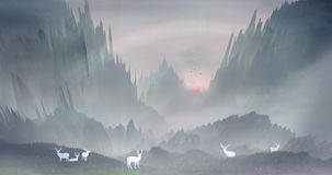 Il sole di mattina aumenta ed i cervi Sika nella foresta giocano felicemente nelle montagne e nelle acque illustrazione vettoriale