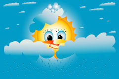 il sole giallo sorride nelle nubi Immagine Stock Libera da Diritti