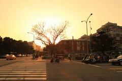 il sole ha messo vicino al parco di Jieshou a 2011 Fotografia Stock Libera da Diritti