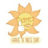 Il sole sbattente le palpebre Abbia una carta di vettore del giorno piacevole illustrazione vettoriale
