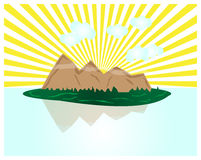 Il sole tropicale di paradiso degli alberi dell'acqua della montagna dell'isola rays le nuvole illustrazione di stock