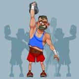Il sollevatore di pesi divertente dell'uomo del fumetto solleva un peso illustrazione di stock