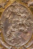 Il sollievo del metallo dell'annuncio sull'altare nella cappella di vergine Maria Fotografia Stock