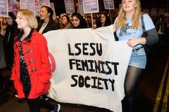 Il solo marzo delle donne nel recupero di Londra la notte 2014 Fotografie Stock